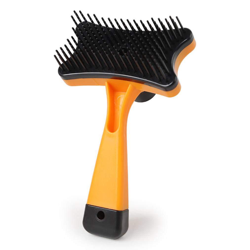Self Cleaning Slicker Brush Pet, Dog Cat Hair Fur Shedding Trimmer Grooming Rake Comb Tool (Orange)