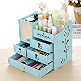 SummerValley Makeup Cosmetic Organizer Wood Storage Drawers Display Jewelry Box Countertop Container (Blue)