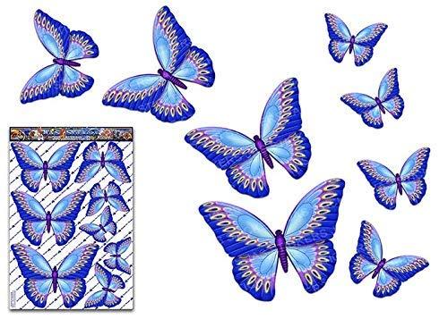 Pack d'autocollant grand autocollant voiture papillon bleu animaux vinyle pour ordinateur portable, caravanes, camions, bateaux ST00025BL_LGE - JAS autocollants