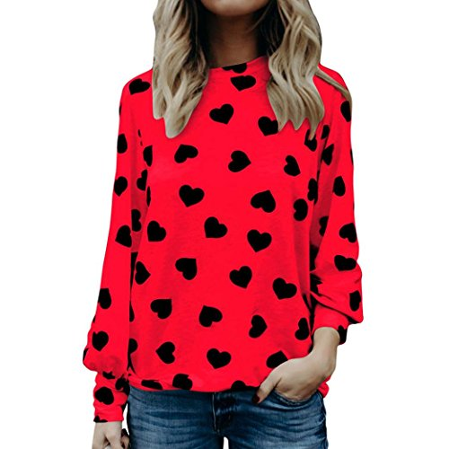 Outsta Hot Sale, Women Love Heart Print Crew Neck Latern Long Sleeve Valentines Day Loose Shirts Tunic Tops (2XL, Red) ()