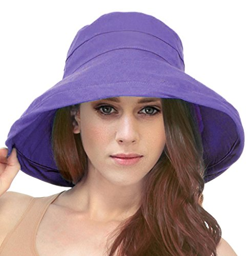 - Simplicity Summer Solid Cotton Bucket Hat with Big Fold-Up Brim, Lavender