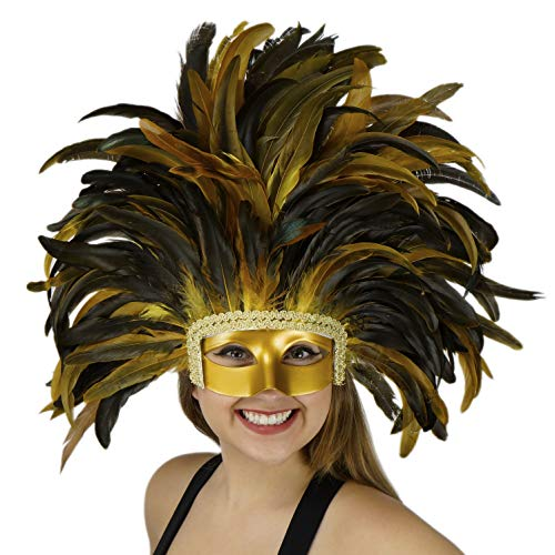 (Large Carnival Costume Feather Headdress - Yellow Halloween Mask Cosplay Party Hair Accessory)