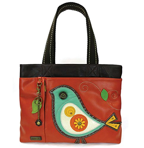 Chala Big Tote, Faux Leather, Canvas Handles, Animal Prints (Blue Bird-Brick Red)