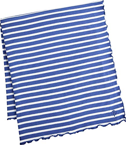 Coolibar UPF 50+ Sun Blanket - Sun Protective (One Size- Empire Blue/White Stripe)
