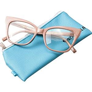SOOLALA Vintage Stylish 53mm Lens Oversized Reading Glass Big Eyeglass Frame, Khaki, +2.0