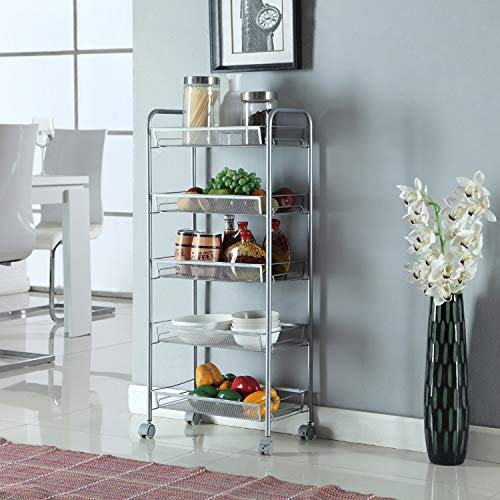- 5-Tier Wire Multifunctional Kitchen Island Rolling Utility Cart Standing Workstation Shelf Rack Mesh Style Removable Storage Cart For Bathroom Bedroom Trolley Garage Organizer (Silver)
