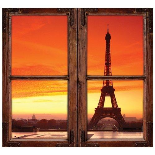 Walls 360 Peel & Stick Wall Decals: Window Views Eiffel Tower (24 in x 22.25 in)