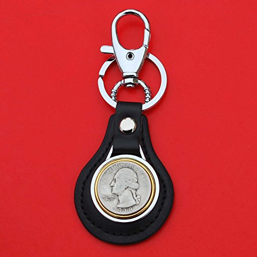 US 1938 Washington Quarter 90% Silver Coin Gold Silver Two Tone Leather Key Chain Ring NEW (Silver Quarter Key)