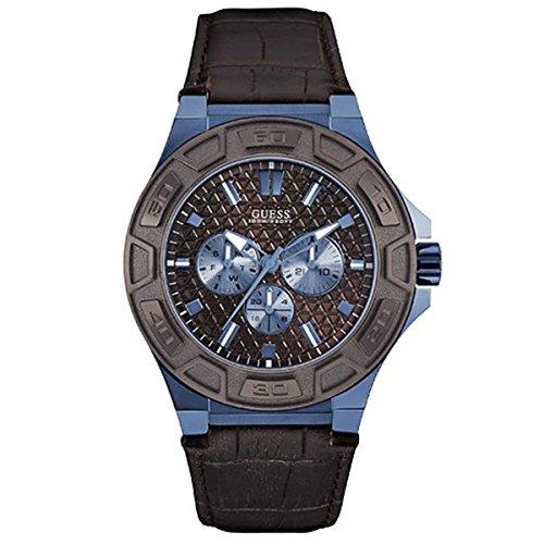 Guess Reloj analogico para Hombre de Cuarzo con Correa en Piel W0674G5: Amazon.es: Relojes