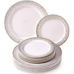 PARTY DISPOSABLE 40 PC DINNERWARE SET | 20 Dinner Plates | 20 Salad or Dessert Plates | Heavy Duty Plastic Dishes | Elegant Fine China Look | for Upscale Wedding and Dining (Ocean Mist - Ivory/Gold)
