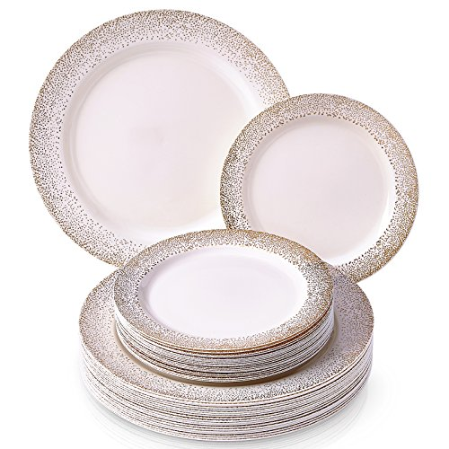 (ELEGANT DISPOSABLE 240 PC DINNERWARE SET | 120 Dinner Plates | 120 Side Plates | Elegant Fine China Look | for Upscale Wedding and Dining (Ocean Mist Collection-Gold))