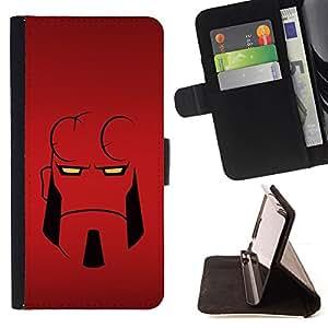 BullDog Case - FOR/Apple Iphone 5 / 5S / - / Minimalist Hell Superhero /- Monedero de cuero de la PU Llevar cubierta de la caja con el ID Credit Card Slots Flip funda de cuer