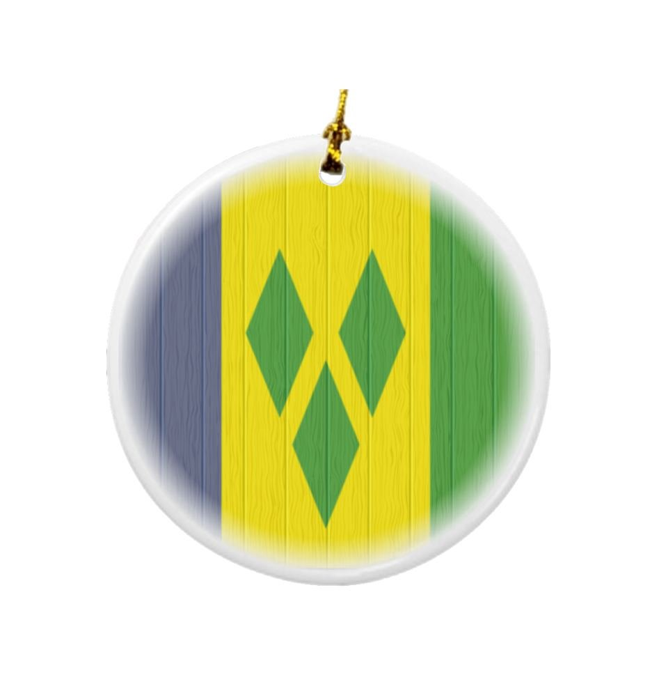 Rikki Knight Saint Vincent and The Grenadines Flag on Distressed Wood Design Round Porcelain Two-Sided Christmas Ornaments