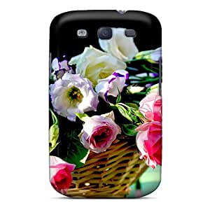 Galaxy S3 Hard Back With Bumper Silicone Gel Tpu Case Cover Flower Basket