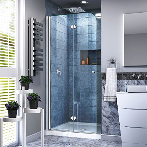 (DreamLine Aqua Fold 30 in. W x 72 in. H Clear Glass Shower Door in Chrome Finish, SHDR-3630720-01, 29.5