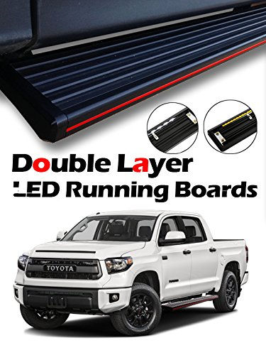 "MPH Auto 5.5"" Innovative Running Boards with LED Light Bars Pre-Installed Custom Fit 2007-2018 Toyota Tundra Double (Extended) Cab; Black Side Step Rail Nerf Bar (2pcs; with Mounting Kit) mj-044-r-l"