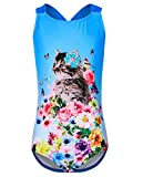 iDrawl Girls Cute Kitty One Piece Swimsuit Swimwear Lovely Cat Flower Printed Swimming Costumes Age 6 to 16
