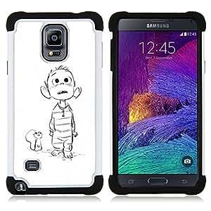 Samsung Galaxy Note 4 IV / SM-N910 - 3 en 1 impreso colorido de Altas Prestaciones PC Funda chaqueta Negro cubierta gel silicona suave (Ratón Dibujo bosquejo blanco Boy Película)