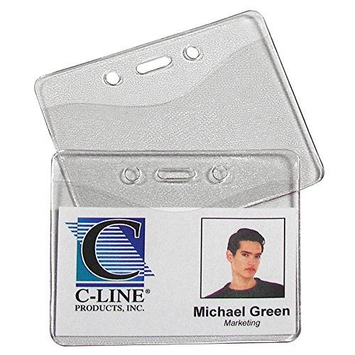 C-Line Heavy Duty Vinyl Badge Holders, Horizontal, 2.38 x 3.38 Inches, 100 per Pack, Clear (88607) ()