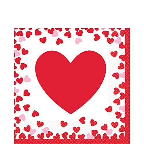 Amscan 511707 Confetti Hearts Luncheon Napkins, One size, Red, White and Pink -