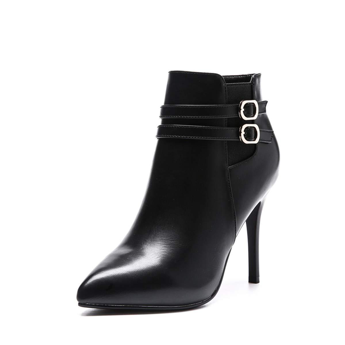 LBTSQ-Gürtelschnallen Stiefel Martin Stiefel 10Cm High Heels Wasserdicht Nackt Stiefel Einzelne Schuhe Stiefel Gestopft Baumwolle Sexy