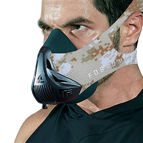 FDBRO Workout Mask-Sports Mask Fitness High Altitude Mask Training,Running, Resistance,Cardio,Endurance Mask for Fitness Training Mask 3.0 with Carry Box (Desert CAMO, M)