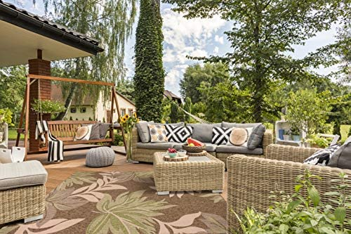 GAD Premium Indoor Outdoor Floral Area Rug 5 3 x 7 6 Brown, Beige Green Contemporary Floral Leaf Rug – Stain Fade Resistant Rug for The Living Room, Patio, Porch, Deck