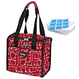 """Nicole Miller 11"""" Insulated Lunch Tote with Sandwich Container and Ice Pack (Signature Red)"""