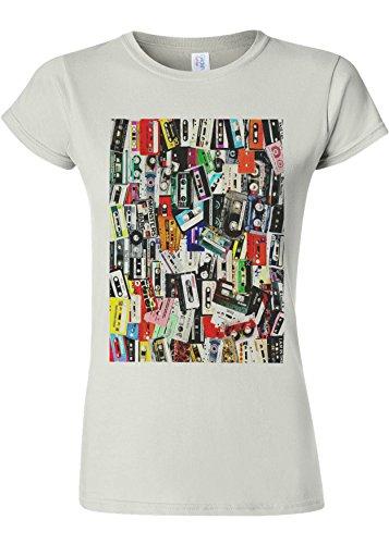 頭痛宝割合Retro Cassettes Music Novelty White Women T Shirt Top-XXL