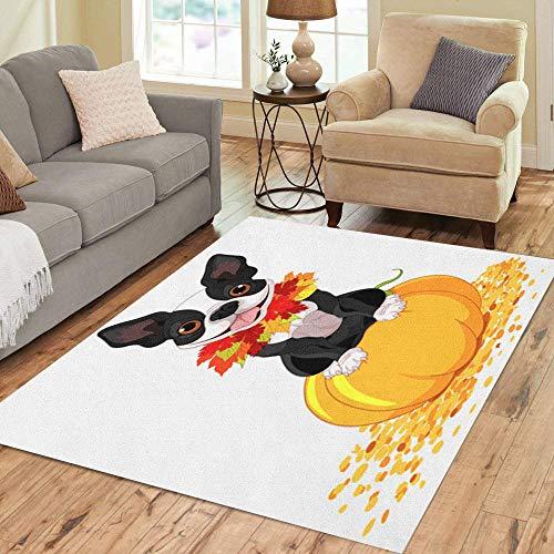 Pinbeam Area Rug Dog Boston Terrier Sits on Pumpkin Halloween Cartoon Home Decor Floor Rug 3' x 5' Carpet ()