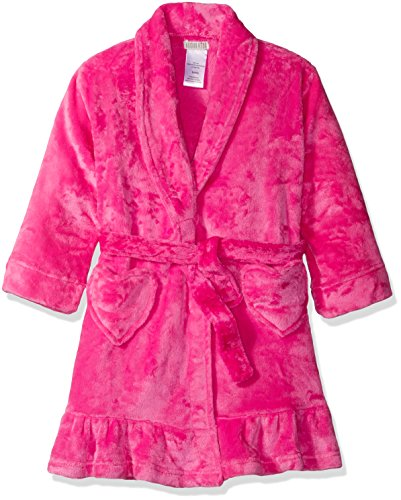 Komar Kids Girls' Big Girls' Velvet Fleece Solid Robe, Dark Pink, Xs (Toddler Girl Robe)