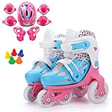 ZCRFY Roller Skates Double Row Inline Skates Beginners Adjustable Kids Training 4 Wheels Skates Rollerblades For Toddlers Children Boys Girls Ice Skate Set,Pink-S
