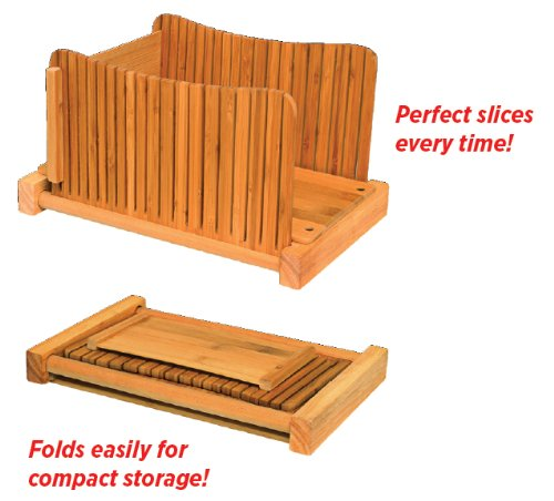 DB-Tech Bamboo Wood Compact Foldable Bread Slicer