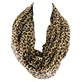 Silver Fever Leopard Animal Print Long Versatile Scarf Wrap -Skirt, Swim Cover, Blouse, Dress(Coffee Brown)