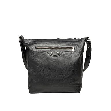 Amazon.com | Balenciaga Arena Men's Black Leather Messenger Bag ...