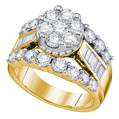 14k Yellow Gold Engagement Diamond Ring Wedding Band Flower Cluster Round Baguette Womens 3.00 ctw Size 8