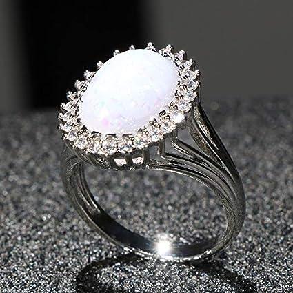 RVXZV Anillo de Plata 925 clásico para Mujeres con Encanto con Piedras Preciosas de ópalo de 10 * 15 mm para Mujer Regalo de joyería Fina
