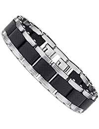"""Metal Masters Co.® Men's Two Tone Black Stainless Steel Bracelet with Pure Solid Carbon Fiber links 8.25"""" Can be sized down"""