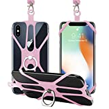 SHANSHUI Cell Phone Lanyard, Silicone Cover Holder Strap Detachable Neck Strap with Hand Ring Universal for iPhone, Samsung Galaxy and Most Smartphones (Pink)