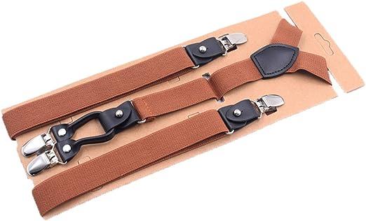 1* Mens Heavy Duty Suspenders Adjustable Clip On Work Braces Wide Solid Color
