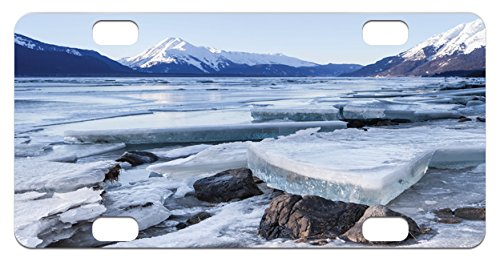 Alaska Mini License Plate by Ambesonne, Ice Chunks on the Side of Chilkat River in North America Winter Season, High Gloss Aluminum Novelty Plate, 2.94 L x 5.88 W Inches, - River Side North