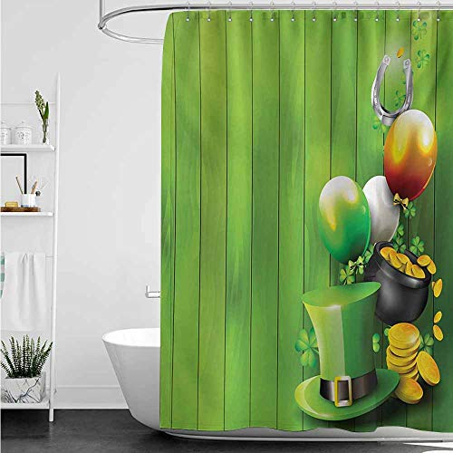 home1love Fabric Shower Curtain,St. Patricks Day Wood Design with Shamrock Lucky Clovers Pot of Gold Coins and Horse Shoe,Bathroom Decoration,W55x86L,Fern Green