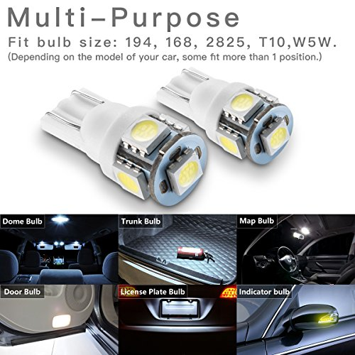 Marsauto-194-168-T10-2825-5SMD-LED-Bulbs-Car-Dome-Map-License-Plate-Lights-Lamp-White-12V-Pack-of-2