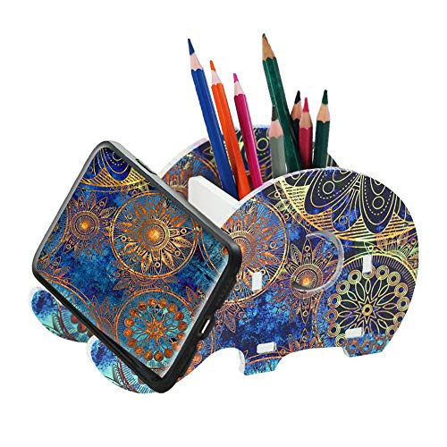 LIZIMANDU Elephant Pencil Holder with Phone Holder,Desk Supplies Organizer Multifunctional Office Accessories Desktop…