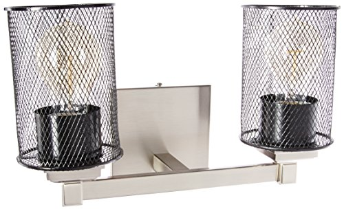 Justice Design Group Lighting MSH-8432-10-NCKL Justice Design Group - Wire Mesh - Regency 2-Light Bath bar - Cylinder with Flat Rim - Brushed Nickel Finish with Wire Mesh Shade,