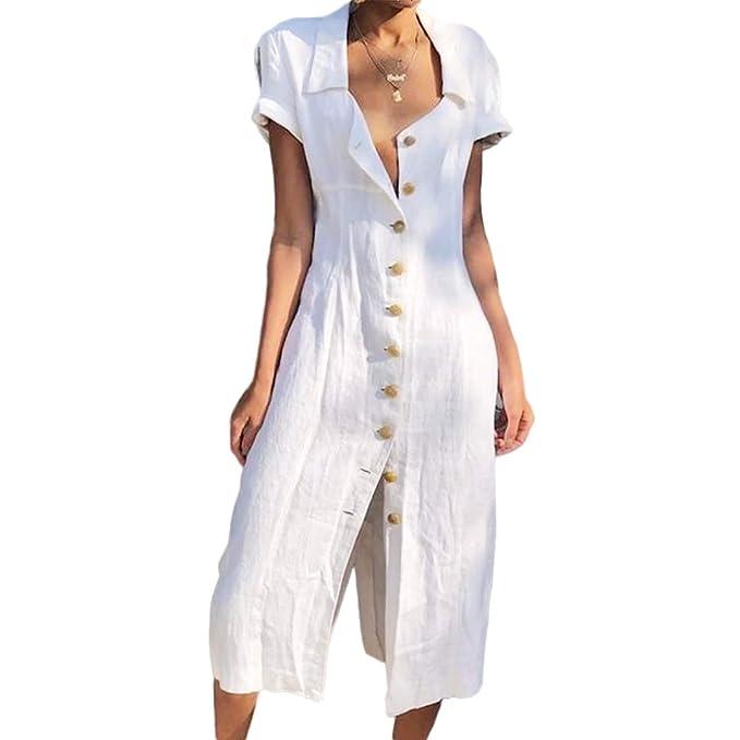 Amazon.com: NORACORA Vestidos de verano lisos con botones ...