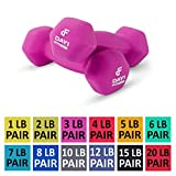 Day 1 Fitness Neoprene Dumbbell Pairs 3 Pounds - Non-Slip, Hexagon Shape, Color Coded, Easy to Read Hand Weights for Muscle Toning, Strength Building, Weight Loss