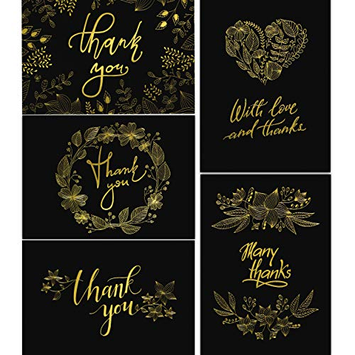 50 Thank You Cards with Gold Floral Script Black