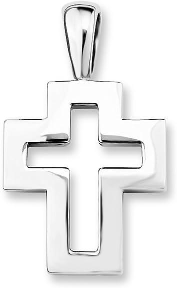 Amor Unisex-Anh/änger Kreuz 925 Sterling Silber rhodiniert gl/änzend 27 mm 307987