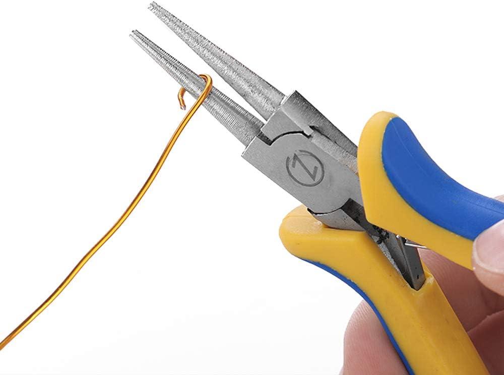 Juego de 3 alicates para bisuter/ía nariz de cadena WISEPRO cortador lateral y nariz redonda para abalorios y bisuter/ía